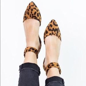 f2d76be9b Shoes - LEOPARD PRINT ANKLE STRAP FLATS